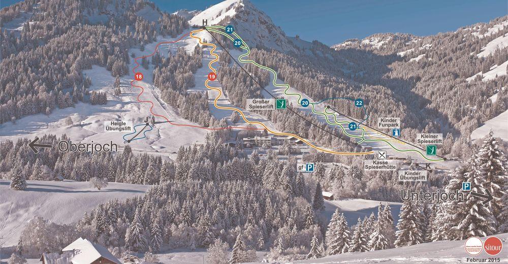 План лыжни Лыжный район Spieserlifte - Sonnenhanglift / Unterjoch