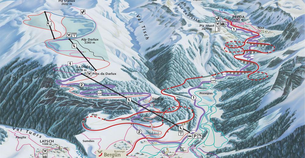 Plán sjezdovky Lyžařská oblast Bergün - Filisur / Darlux