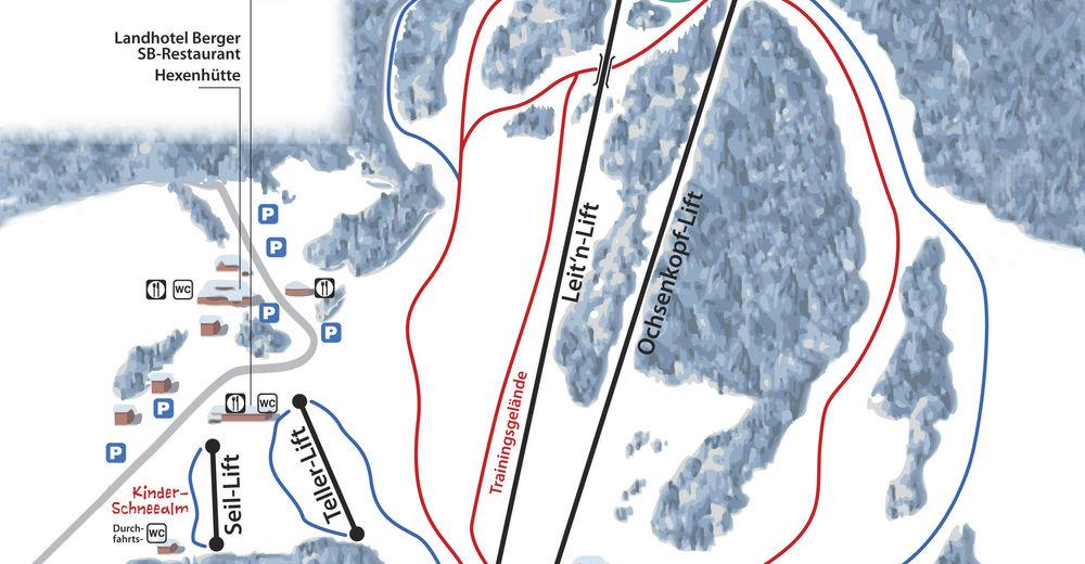Načrt smučarske proge Smučišče Familienschiberg St. Jakob im Walde