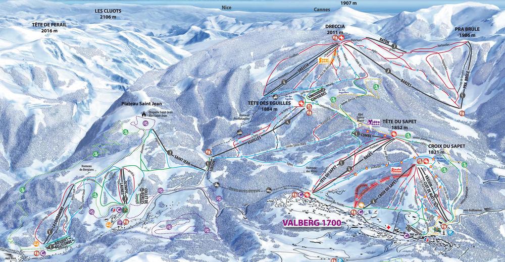 Pisteplan Skiområde Valberg - Beuil/Valberg