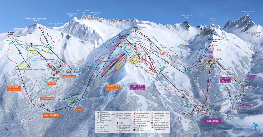 Načrt smučarske proge Smučišče Valloire - Galibier Thabor