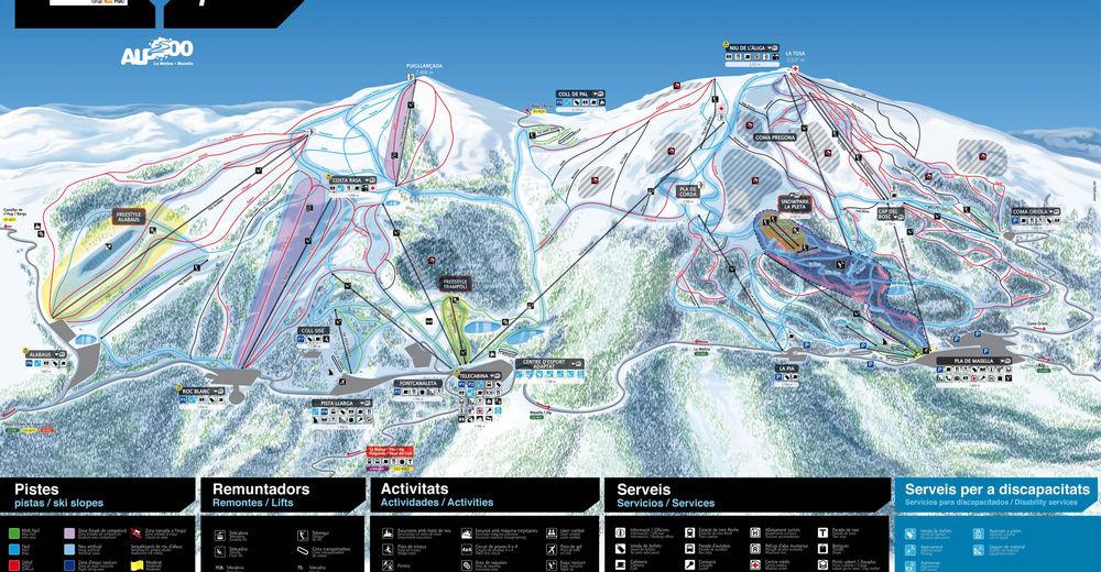 Rinnekartta Hiihtoalue La Molina / Alp 2500