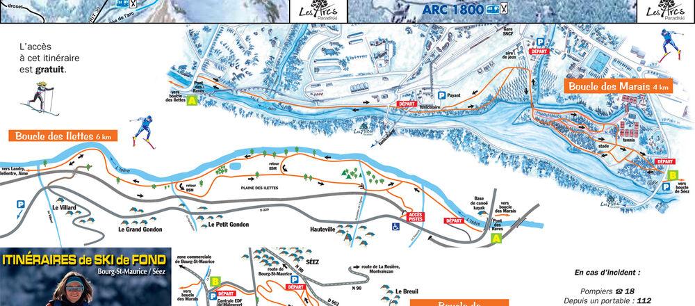 Loipenplan Les Arcs - Bourg Saint Maurice