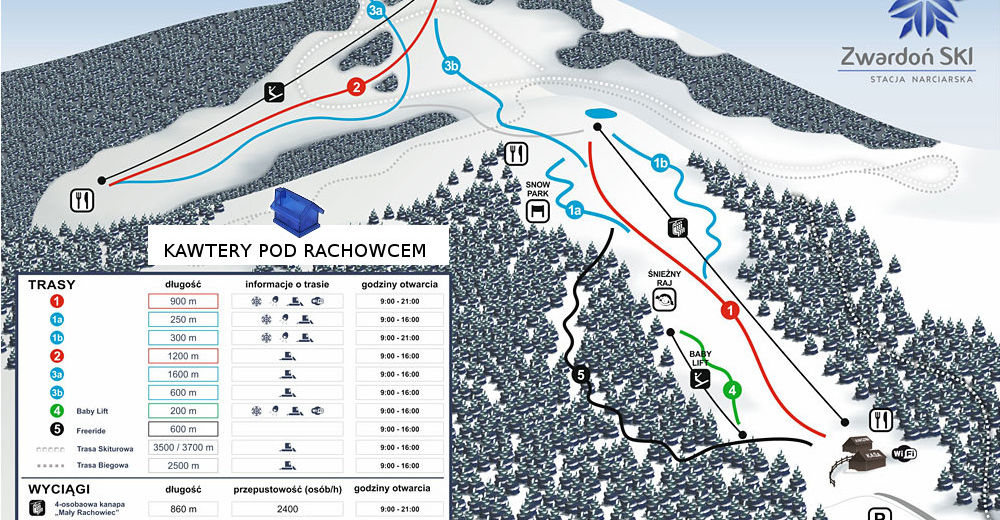 Pistenplan Skigebiet Duży Rachowiec / Zwardón