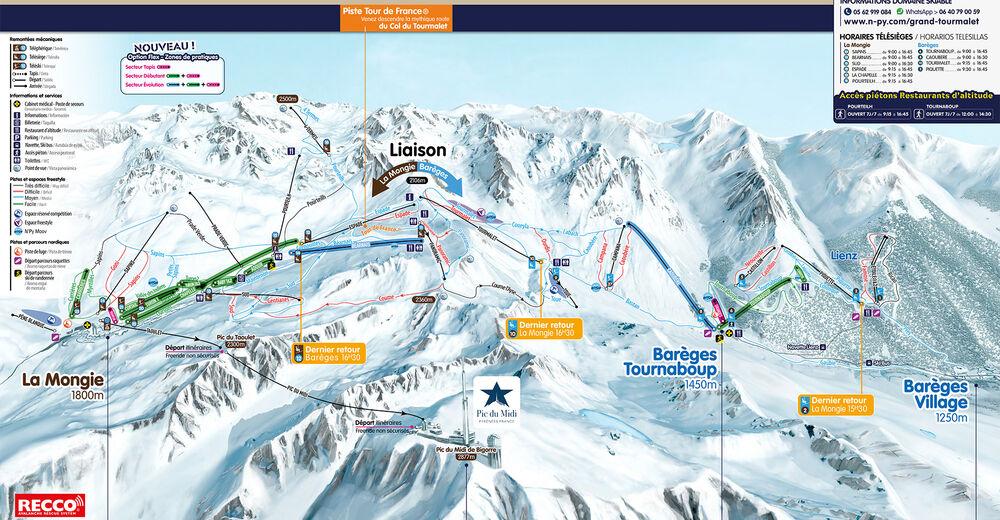 Plan de piste Station de ski Grand Tourmalet - Pic du Midi / Barèges - La Mongie