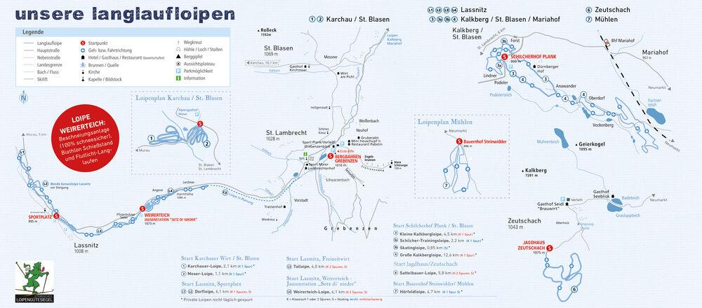Loipenplan Naturpark Zirbitzkogel - Grebenzen