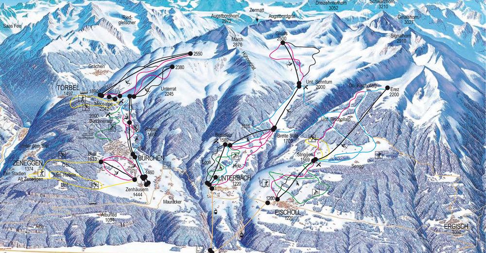 Planul pistelor Zonă de schi Sportbahnen Eischoll