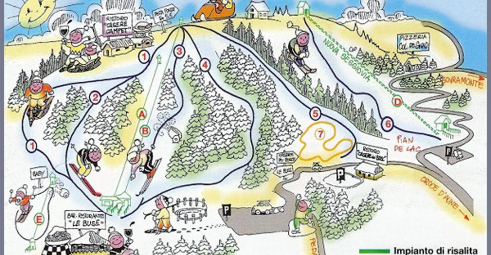Pályaterv Síterület Monte Avena - Croce d´Aune
