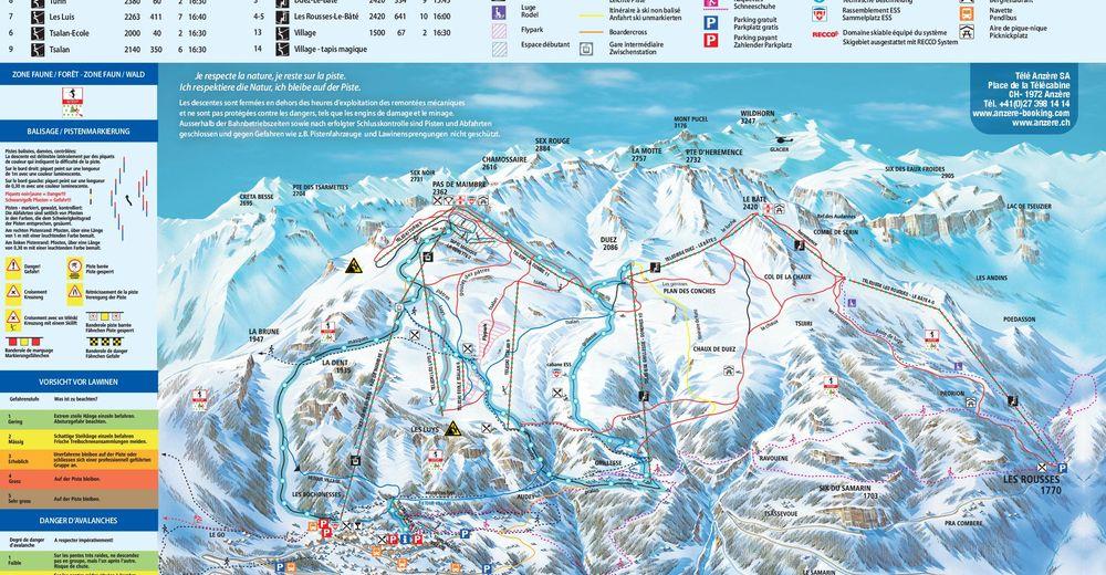 Pistenplan Skigebiet Anzère