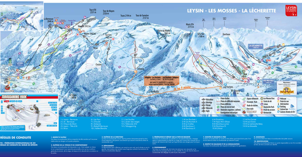 Piste map Ski resort Leysin - Les Mosses - La Lécherette