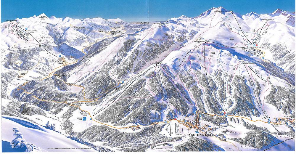 Plan skijaških staza Skijaško područje Abetone - Val di Luce