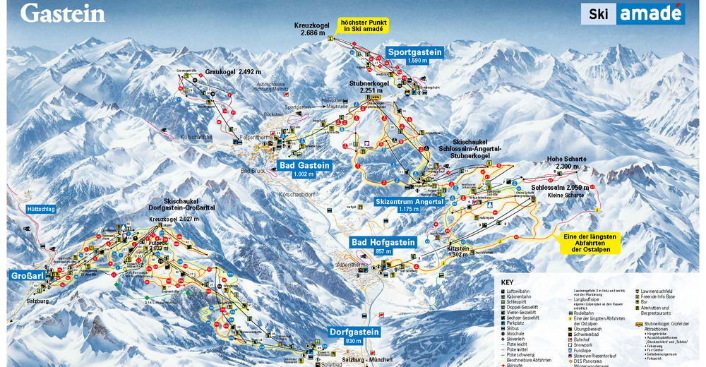 Piste map Ski resort Sportgastein - Ski amade