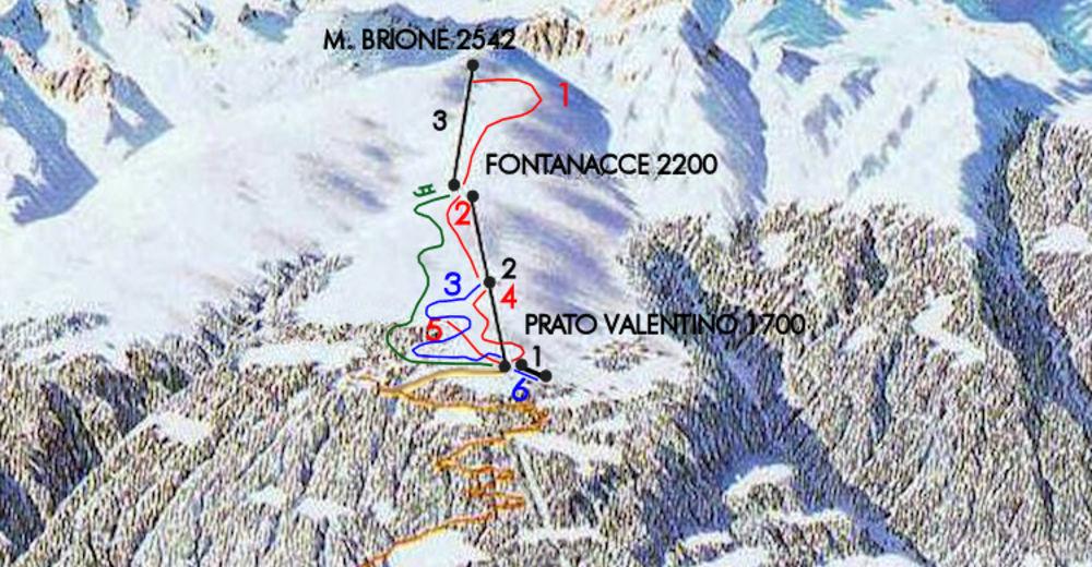 Mappa delle piste Comparto sciistico Alpe Teglio / Prato Valentino
