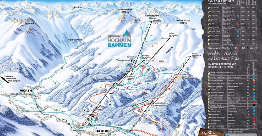 Mapa zjazdoviek Lyžiarske stredisko Raurisertal - Hochalmbahnen