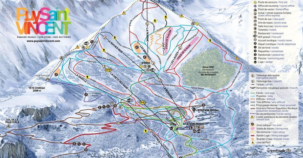 Pistplan Skidområde Puy St Vincent