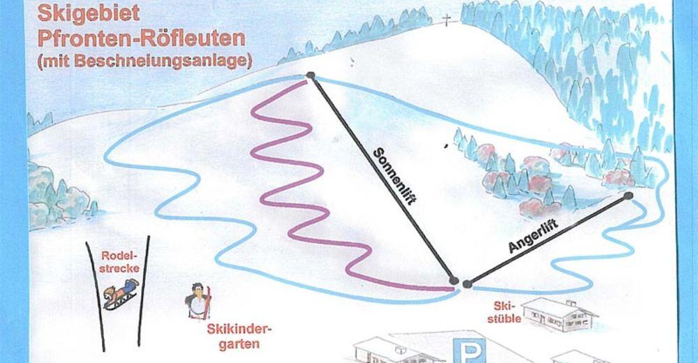 Piste map Ski resort Sonnenlifte Pfronten-Röfleuten