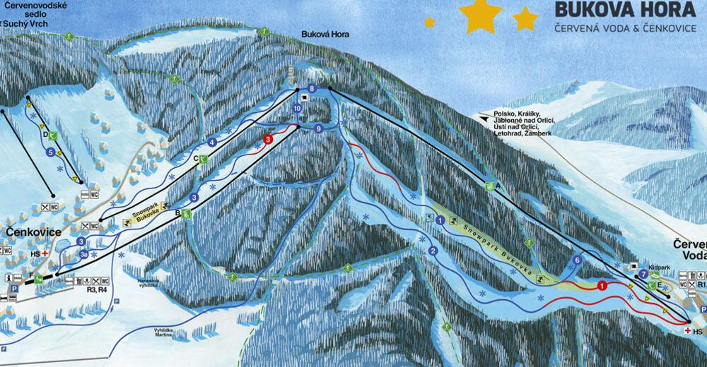 Plán sjezdovky Lyžařská oblast Červená Voda