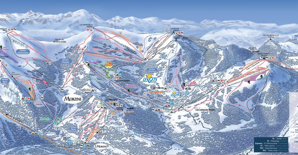 Plan skijaških staza Skijaško područje Les Gets / Portes du Soleil