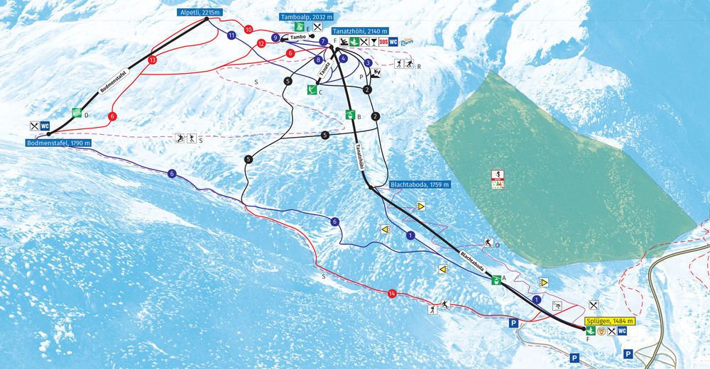 Mapa zjazdoviek Lyžiarske stredisko Splügen / Rheinwald