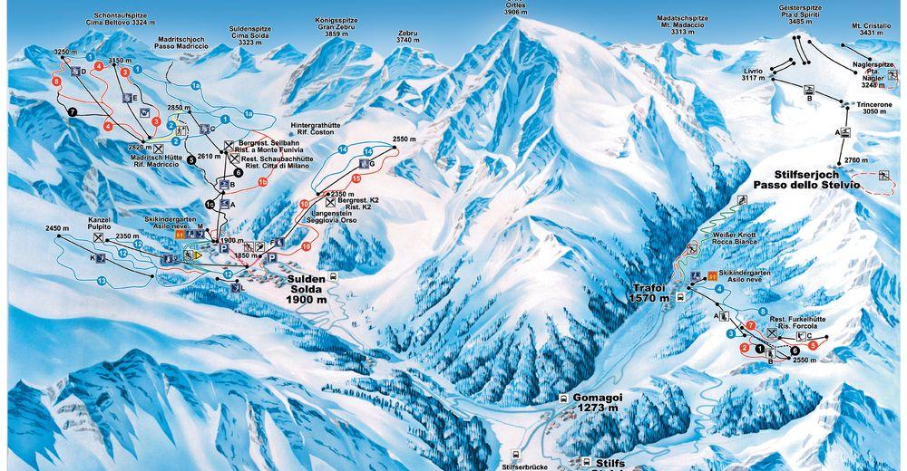 Bakkeoversikt Skiområde Trafoi am Ortler / Furkel