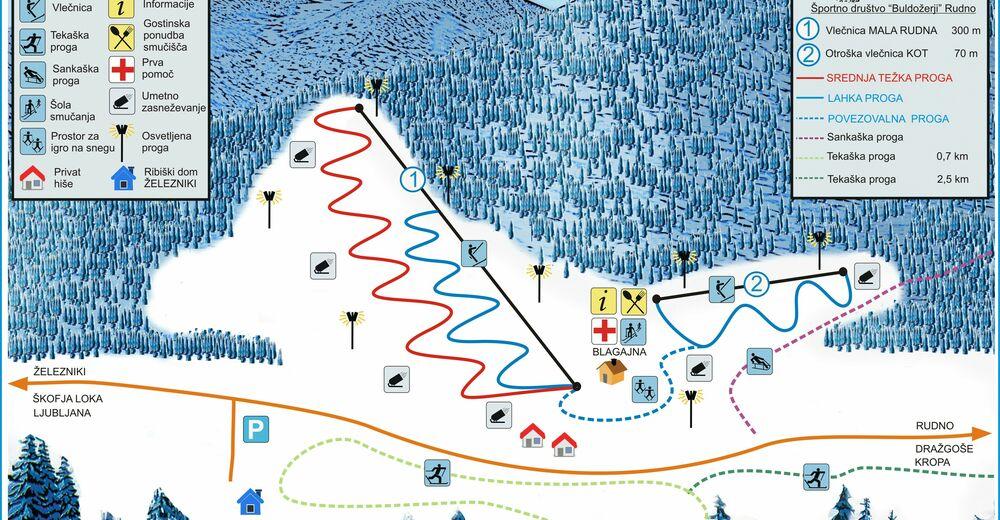 Plan de piste Station de ski Rudno