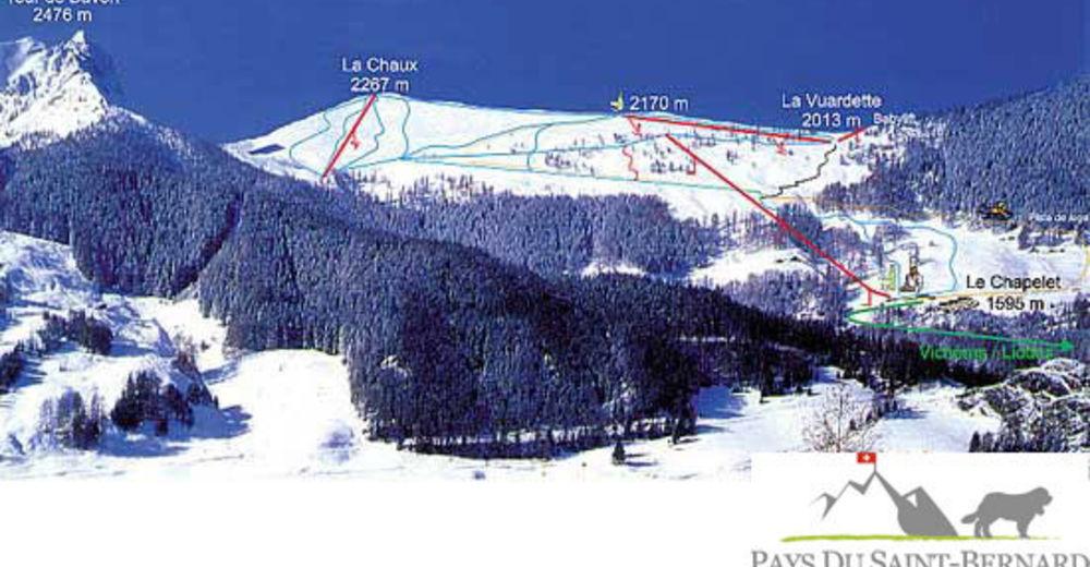 Pistenplan Skigebiet Liddes - Vichères