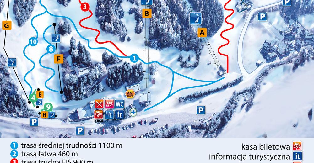 Planul pistelor Zonă de schi CZORSZTYN-SKI