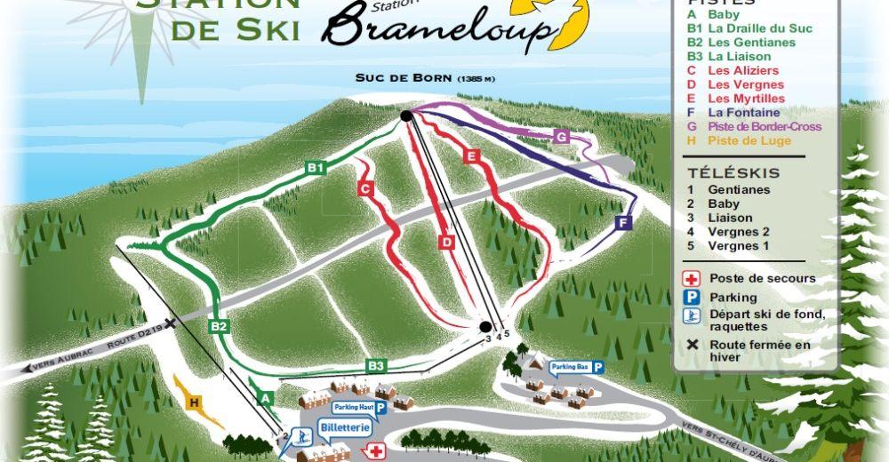 Plan de piste Station de ski Brameloup - Saint-Chély-d'Aubrac