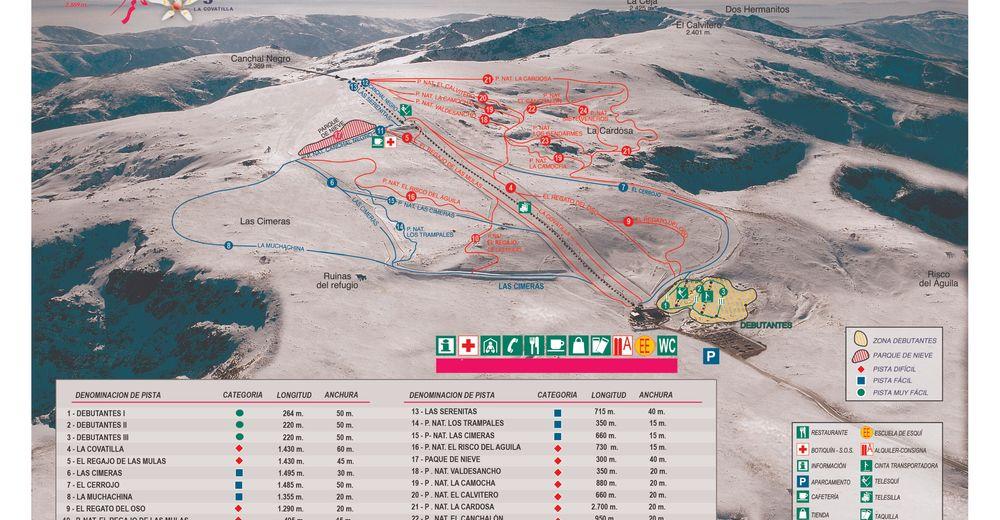 Pisteplan Skigebied Sierra de Béjar - La Covatilla
