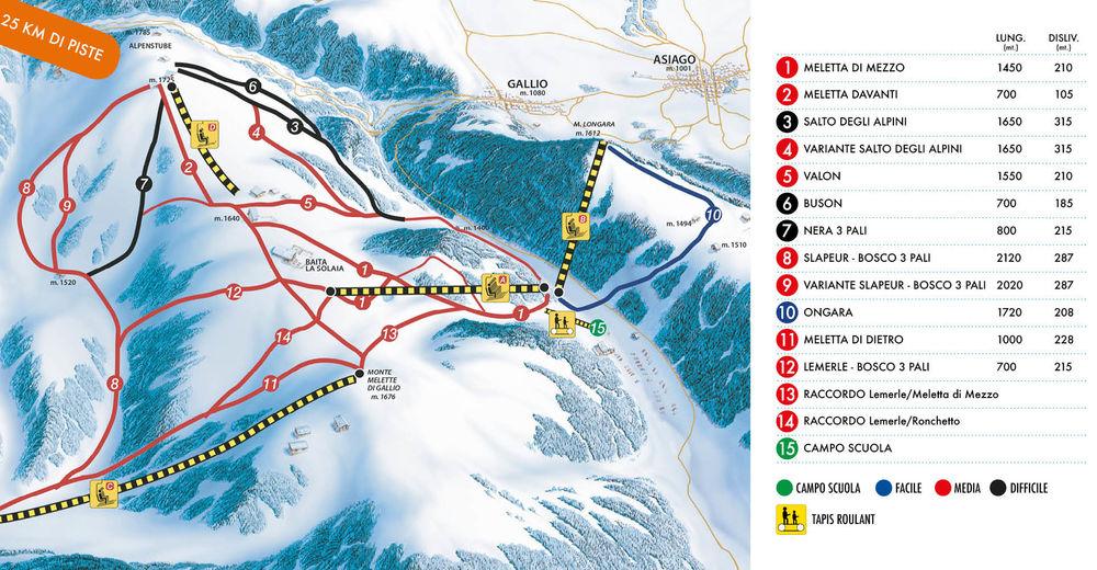 Pistenplan Skigebiet Melette 2000 / Gallio