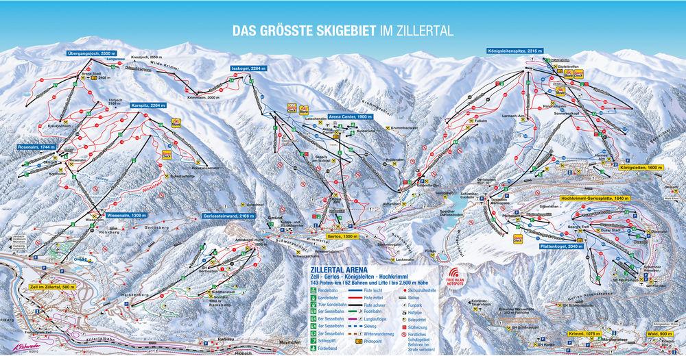 Bakkeoversikt Skiområde Königsleiten / Wald - Zillertal Arena