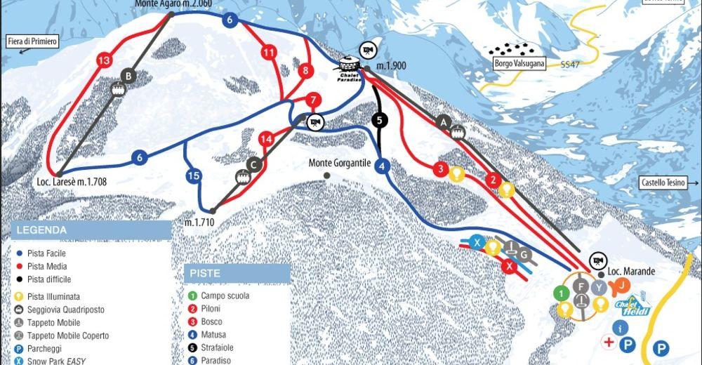 План лыжни Лыжный район Funivie Lagorai - Passo Brocon
