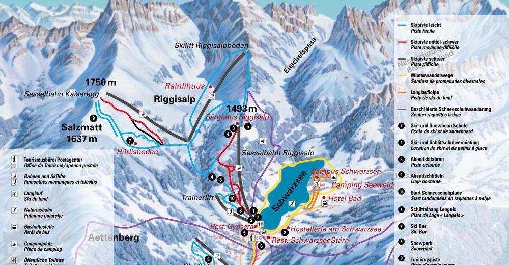 Načrt smučarske proge Smučišče Schwarzsee / Kaiseregg Bahnen