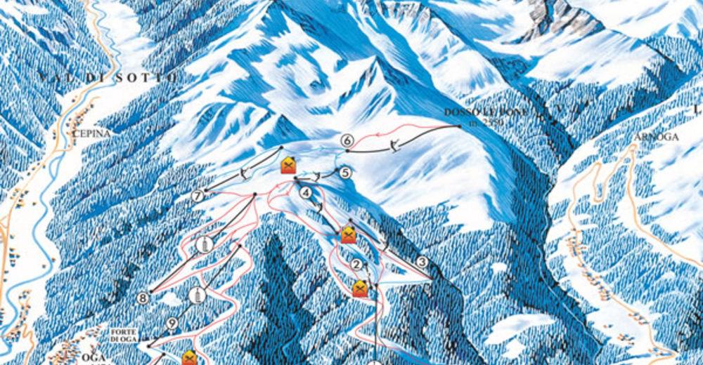 Plán sjezdovky Lyžařská oblast San Colombano - Valdidentro