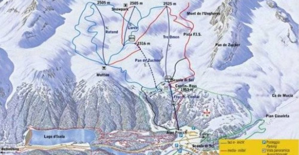 Piste map Ski resort Confin 2000 / San Bernardino