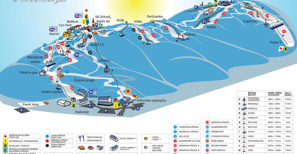 Plan skijaških staza Skijaško područje Mariborsko Pohorje