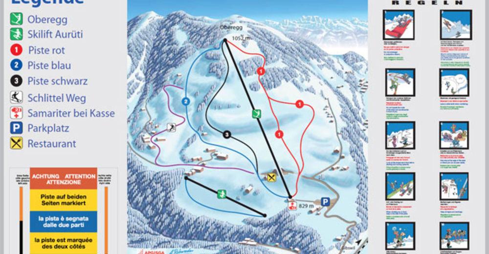 Pistenplan Skigebiet Fischenthal