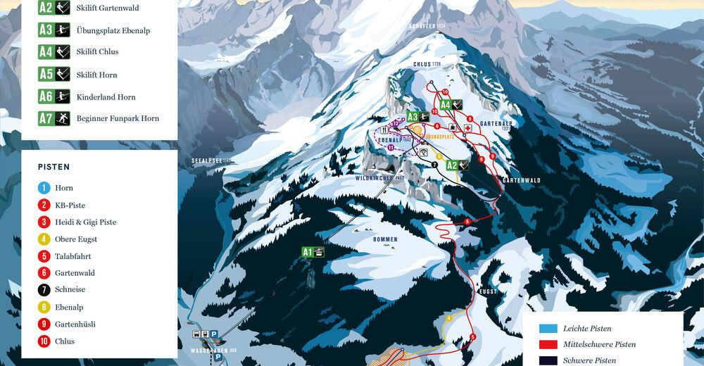 Planul pistelor Zonă de schi Ebenalp-Horn