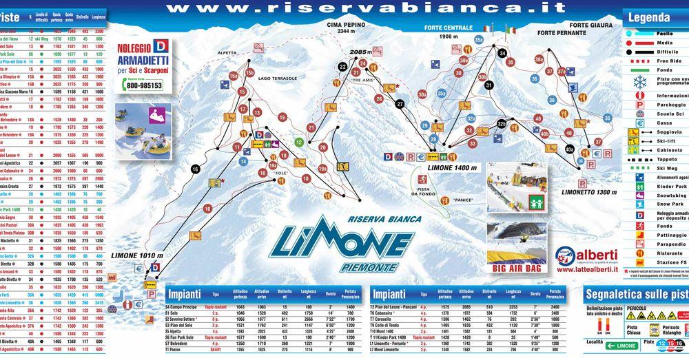Plan de piste Station de ski Limone Piemonte / Riserva Bianca