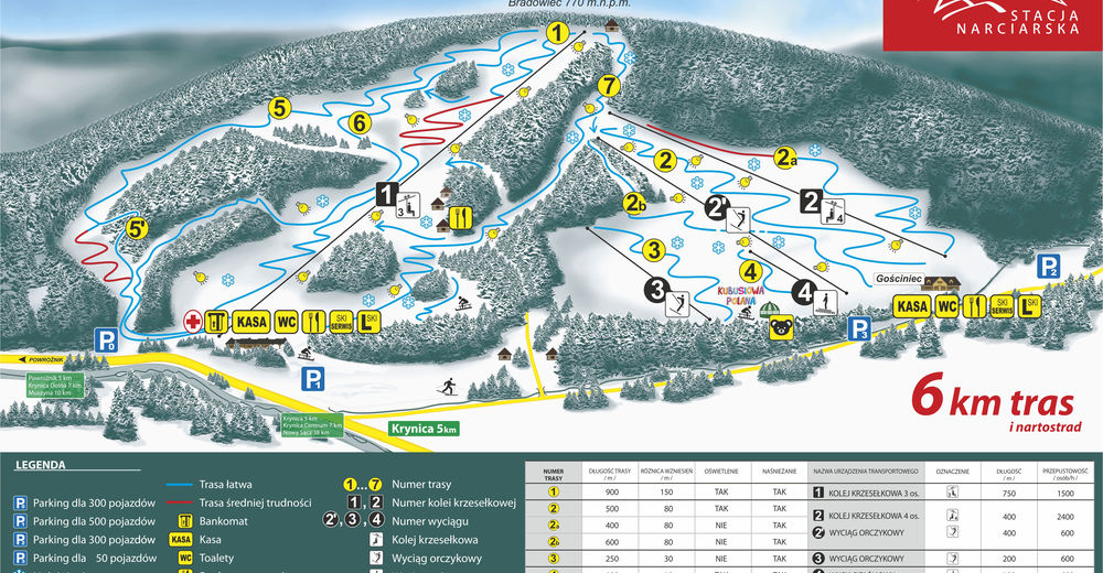 Piste map Ski resort Tylicz