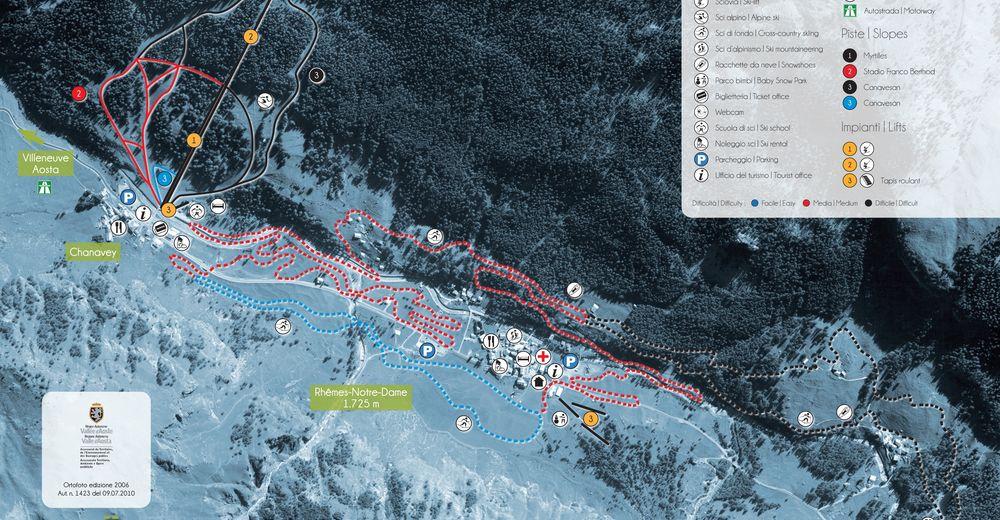 Plan skijaških staza Skijaško područje Chanavey / Rhêmes-Notre-Dame