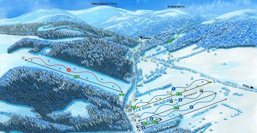 Plan de piste Station de ski Zdobnice
