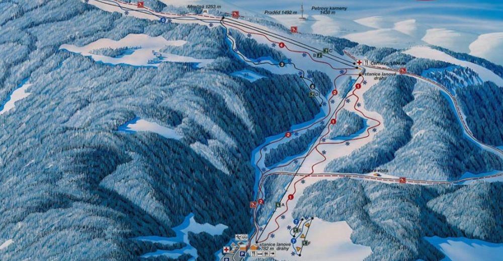Pistenplan Skigebiet Bonera Ramzová