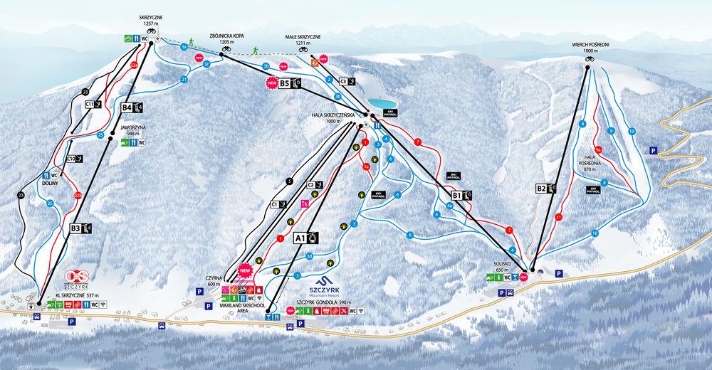 Mapa stoków Ośrodek narciarski Szczyrk Mountain Resort