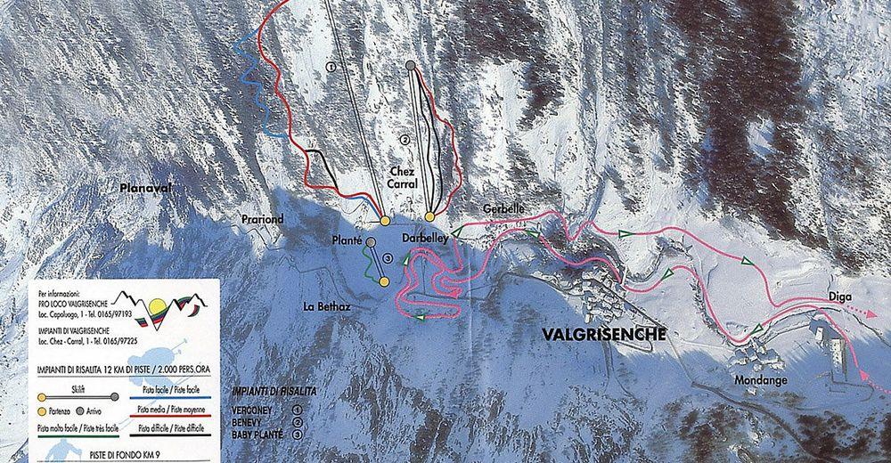 План лыжни Лыжный район Valgrisenche
