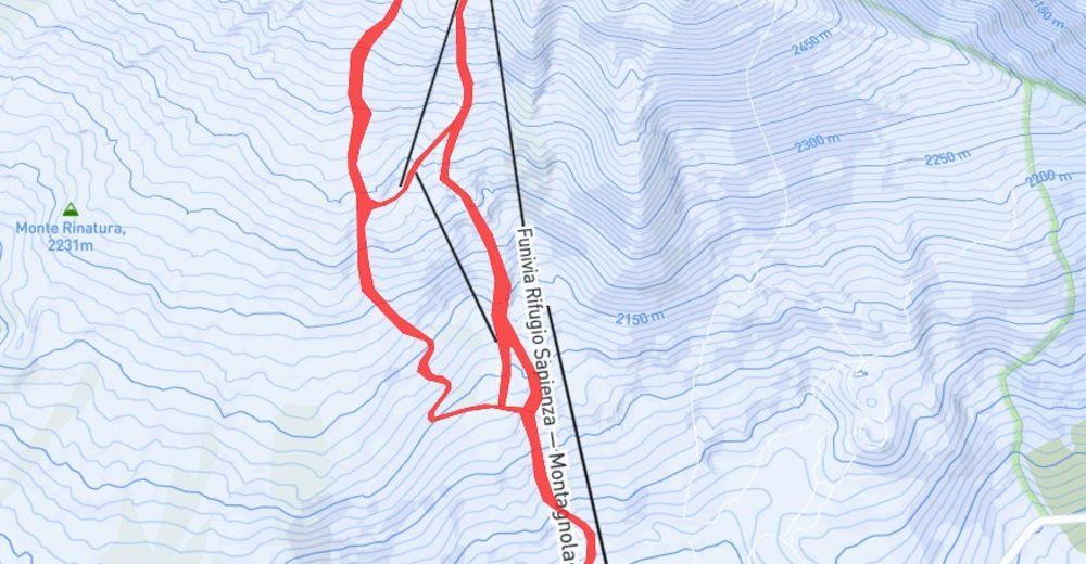 Pisteplan Skiområde Ätna Süd - Nicolosi