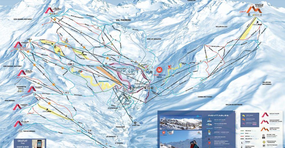 Pistenplan Skigebiet Saint Martin de Belleville / Les 3 Vallées