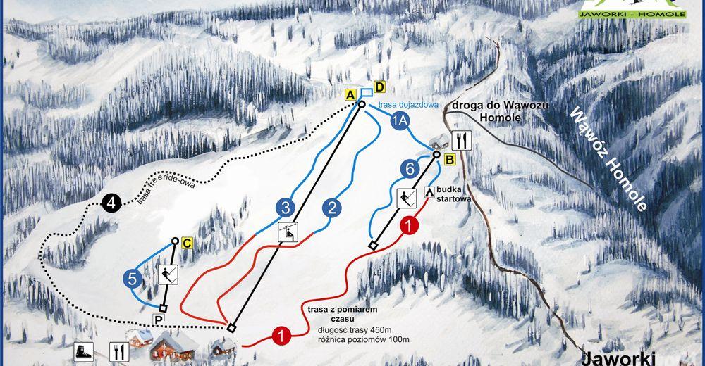 Plan skijaških staza Skijaško područje Arena Narciarska Jaworki Homole