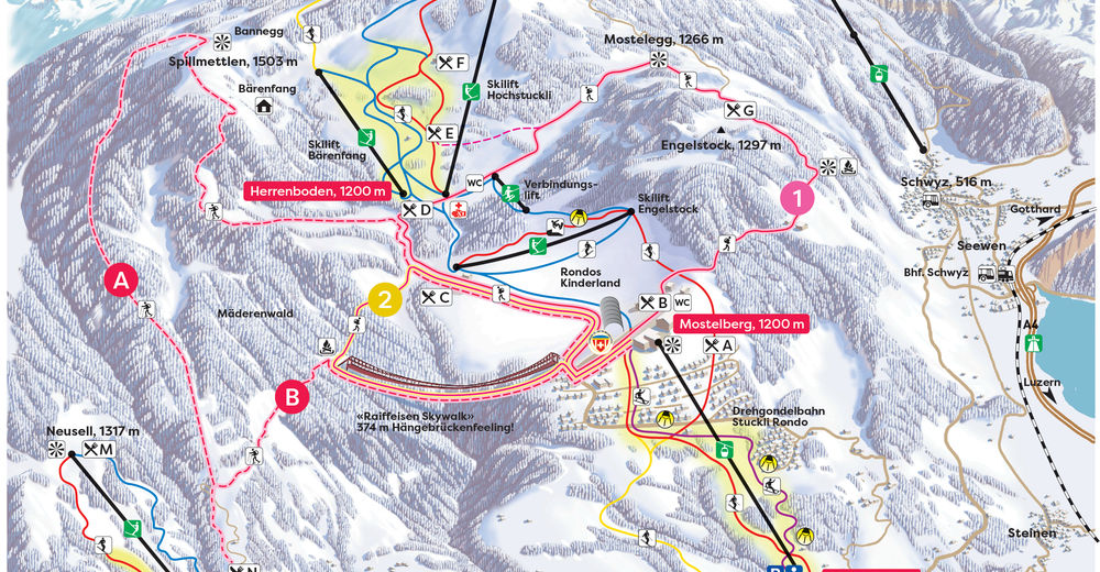 Piste map Ski resort Sattel Hochstuckli