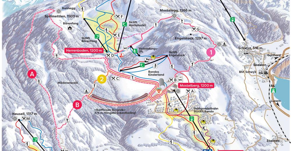 Planul pistelor Zonă de schi Sattel Hochstuckli